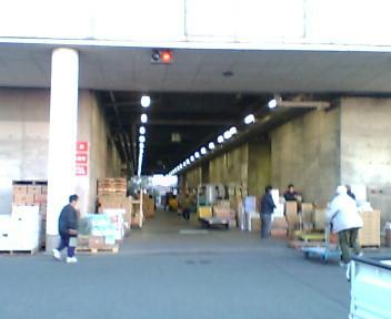 朝の青果棟大通路風景(裏門駐車場より)